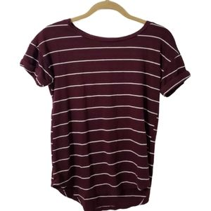 3/$20 Maurices Maroon Striped 24/7 Basic T-Shirt